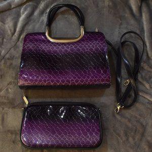 Set of 2 Variegated Purple Snakeskin Purses